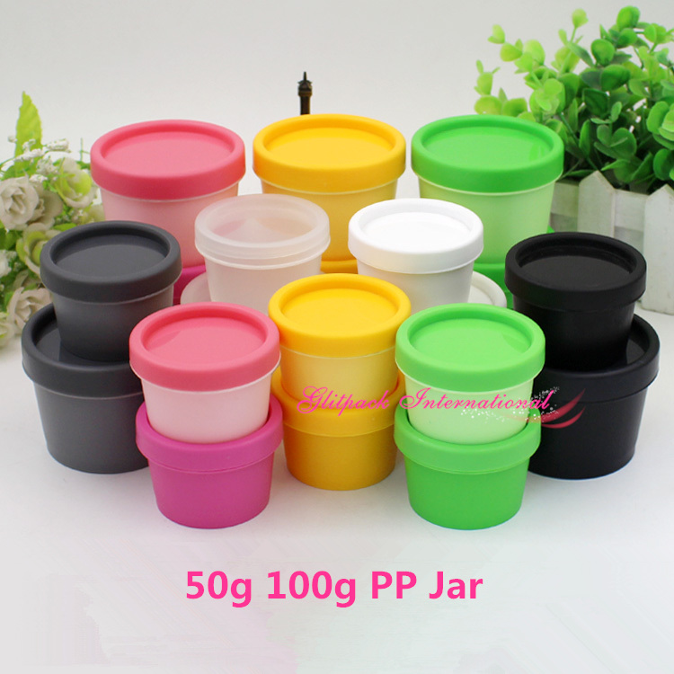 50pcs/lot Mulit Colors 50g 100g Mask Cream Pot,recycled cosmetic packaging PP Containers plastic cosmetic box,plastic cream jars
